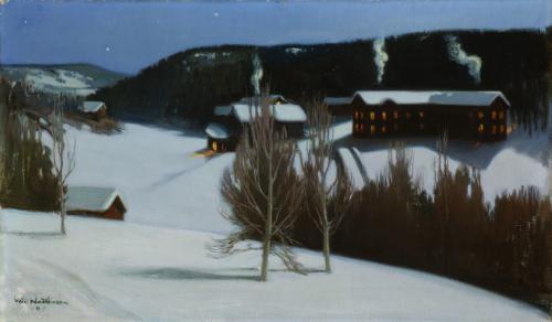 Väinö Hämäläinen, Talvinen yö Myllykylässä, 1907 öljy, yksityiskokoelma