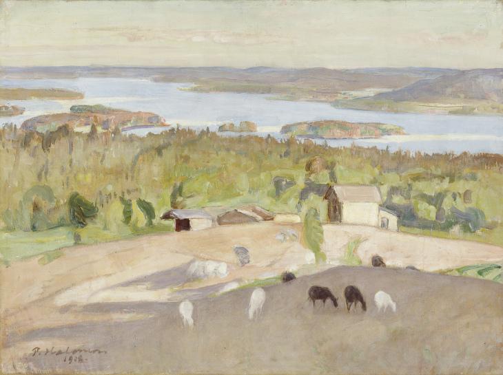 Pekka Halonen, Näköala Väisälänmäeltä 1918, HAM, Aune ja Elias Laaksosen kokoelma. Kuva Hanna Rikkonen